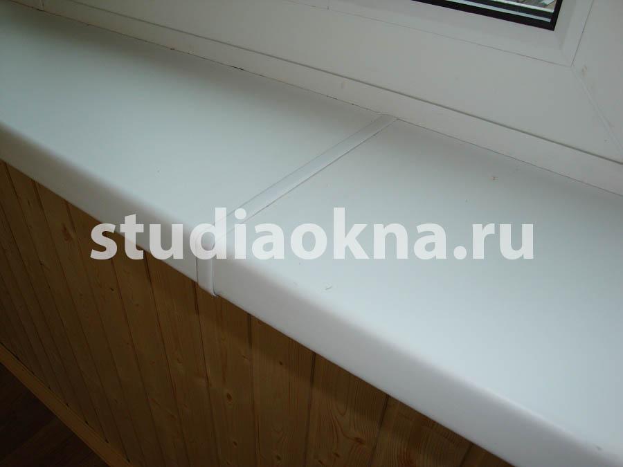 стыковка двух подоконников на балконе