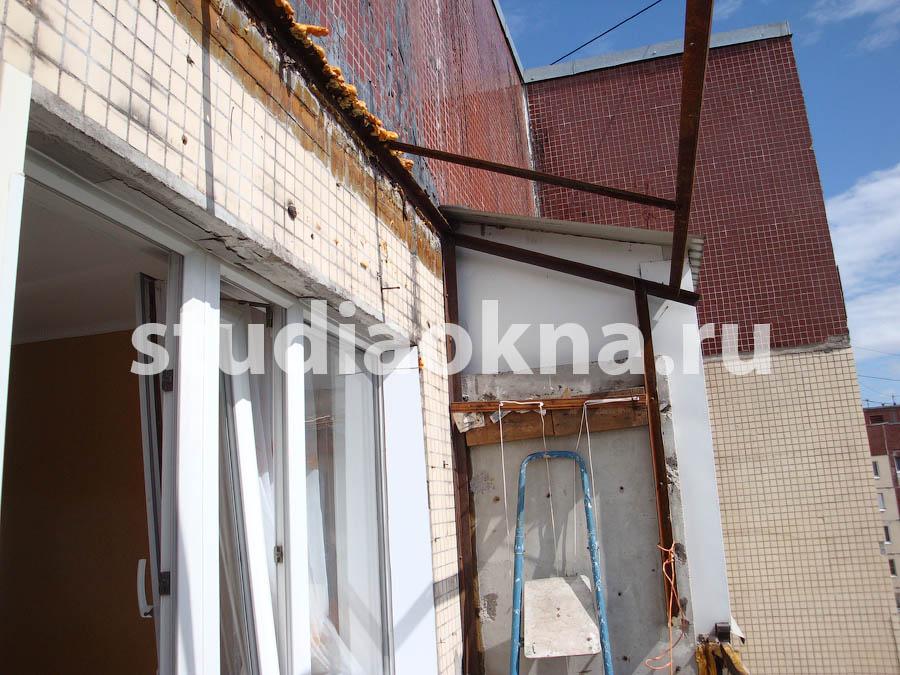 демонтаж крыши над балконом